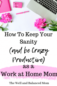 How to Keep Your Sanity and be Crazy Productive as a Work at Home Mom